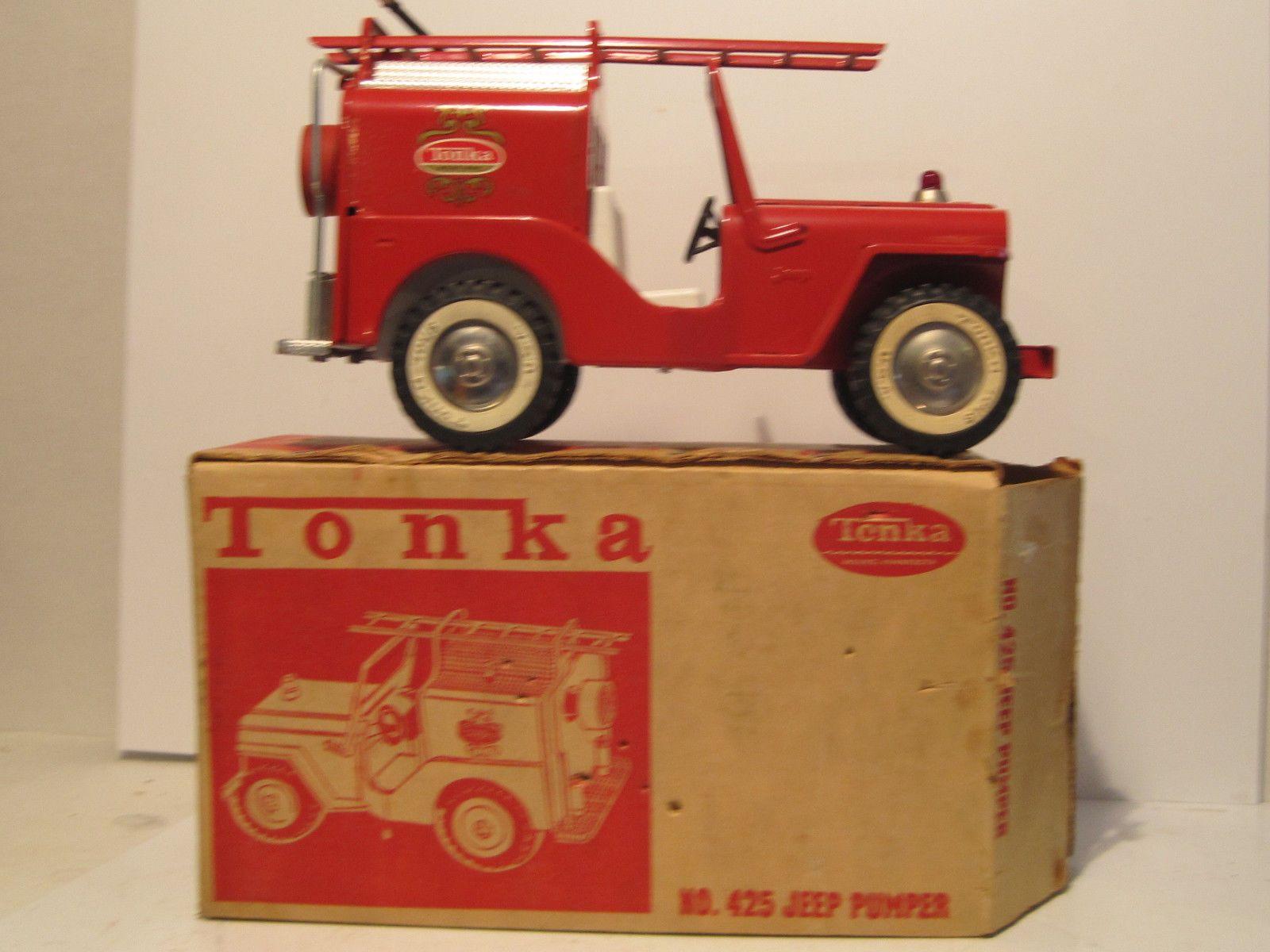 Vintage Tonka Fire Truck Jeep Pumper Nice Original Box Near