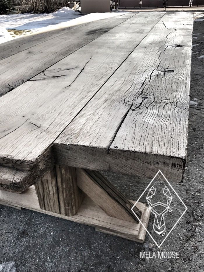 """Old Wood No'7""  Wood for This table we found on Podlasie. The owner who undressed wooden manor house from 1937 wanted them just to burn.   It's heavy, It's 100% oak Colour 100% nature.  Will fits perfectly into your loft or modern interior.   This beautiful piece of organic history is still available!   Still to buy!! Still for sale!!   You want it? Contact us ! office@melamoose.pl"