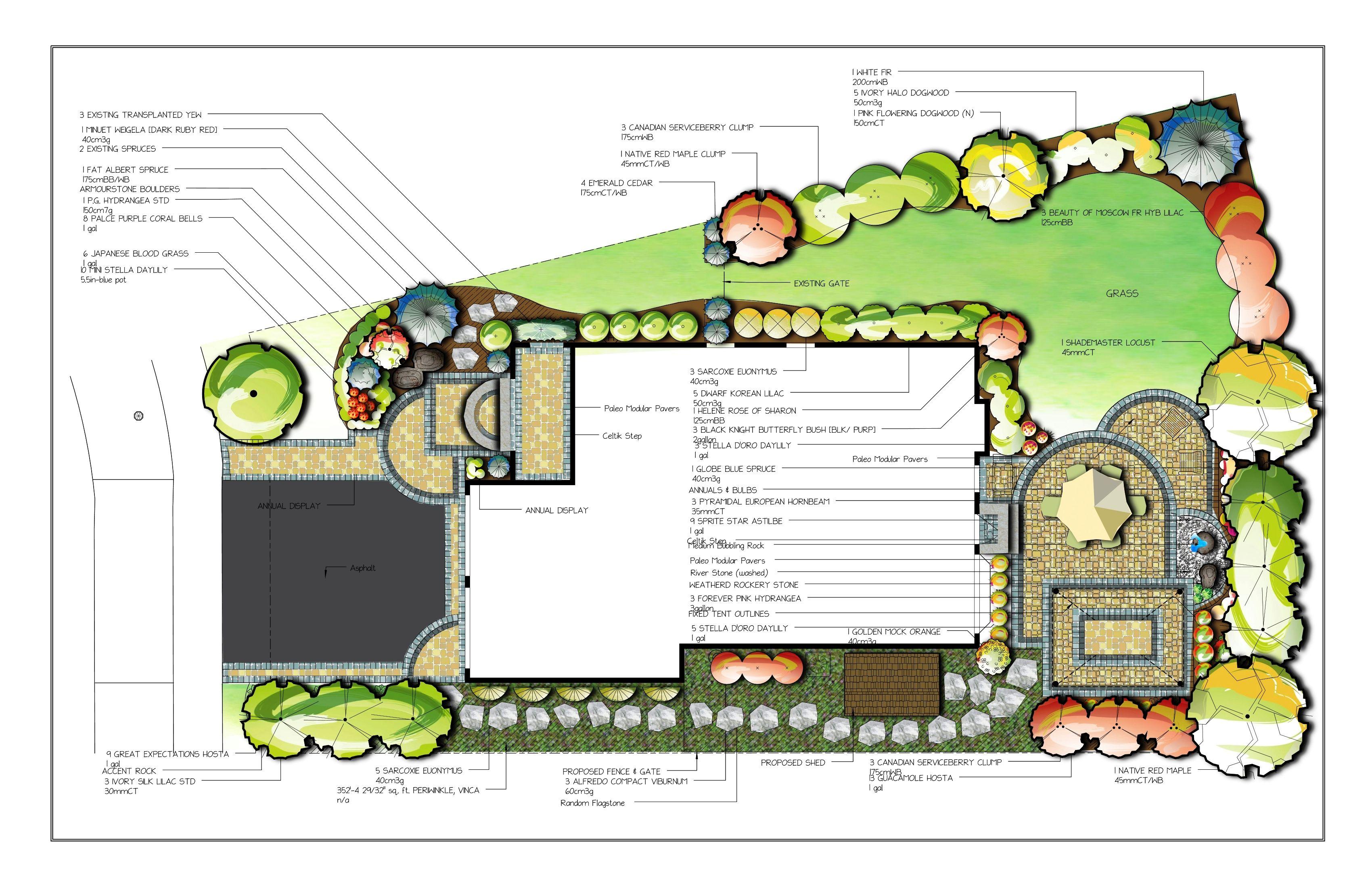 landscape design drawing Beauty n Garden Design Drawing [ Fullot Color ] | Landscape ...