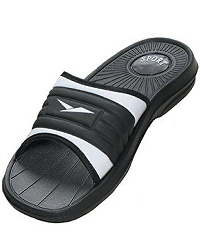f8e81aaad733ae back to basics Men s Rubber Slide Sandal Slipper Comfortable Shower Beach  Shoe Slip On