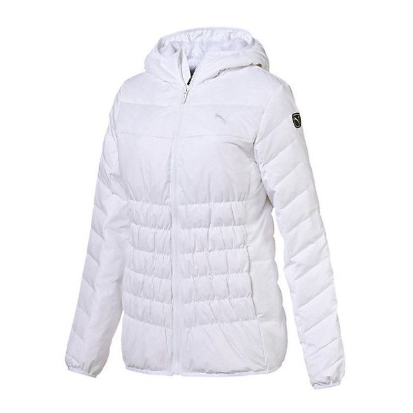 cbe361604 Puma ESS Hooded Down Jacket ($80) ❤ liked on Polyvore featuring outerwear,  jackets, snap jacket, puma jacket, hooded jacket, down filled jacket and  padded ...