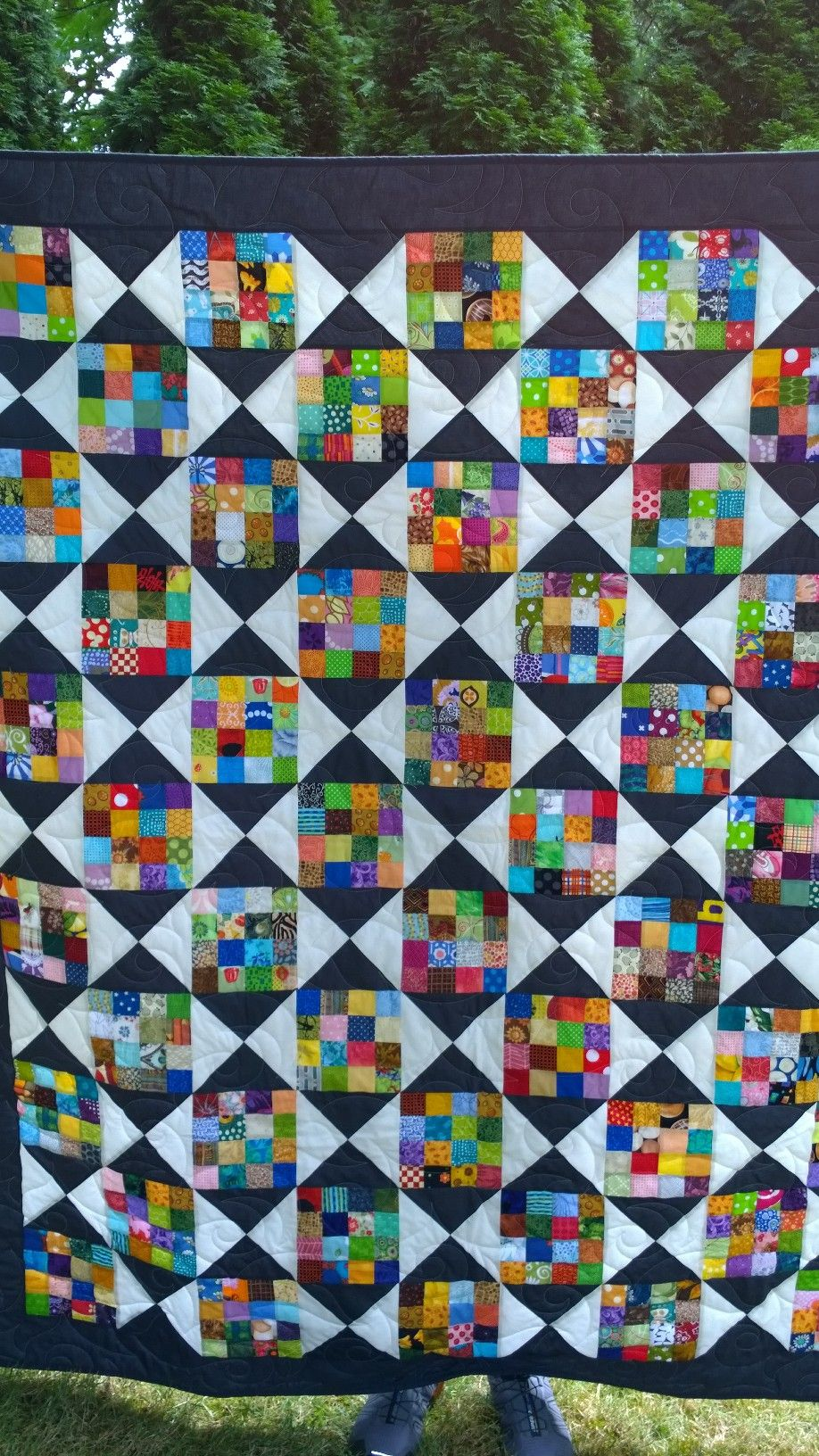 Here is a scrap quilt I made for donation  Those are 6 1/2