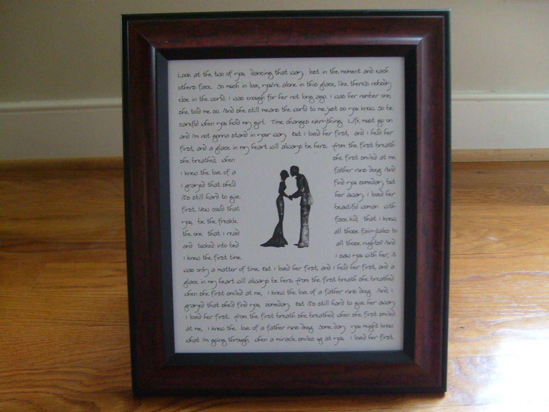 Frame Wedding Vows Or Song Lyrics