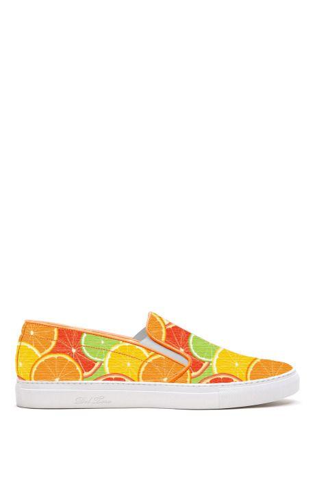 M'O Exclusive: Citrus Printed Canvas Slip On Sneaker With White Sole by Del Toro - Moda Operandi