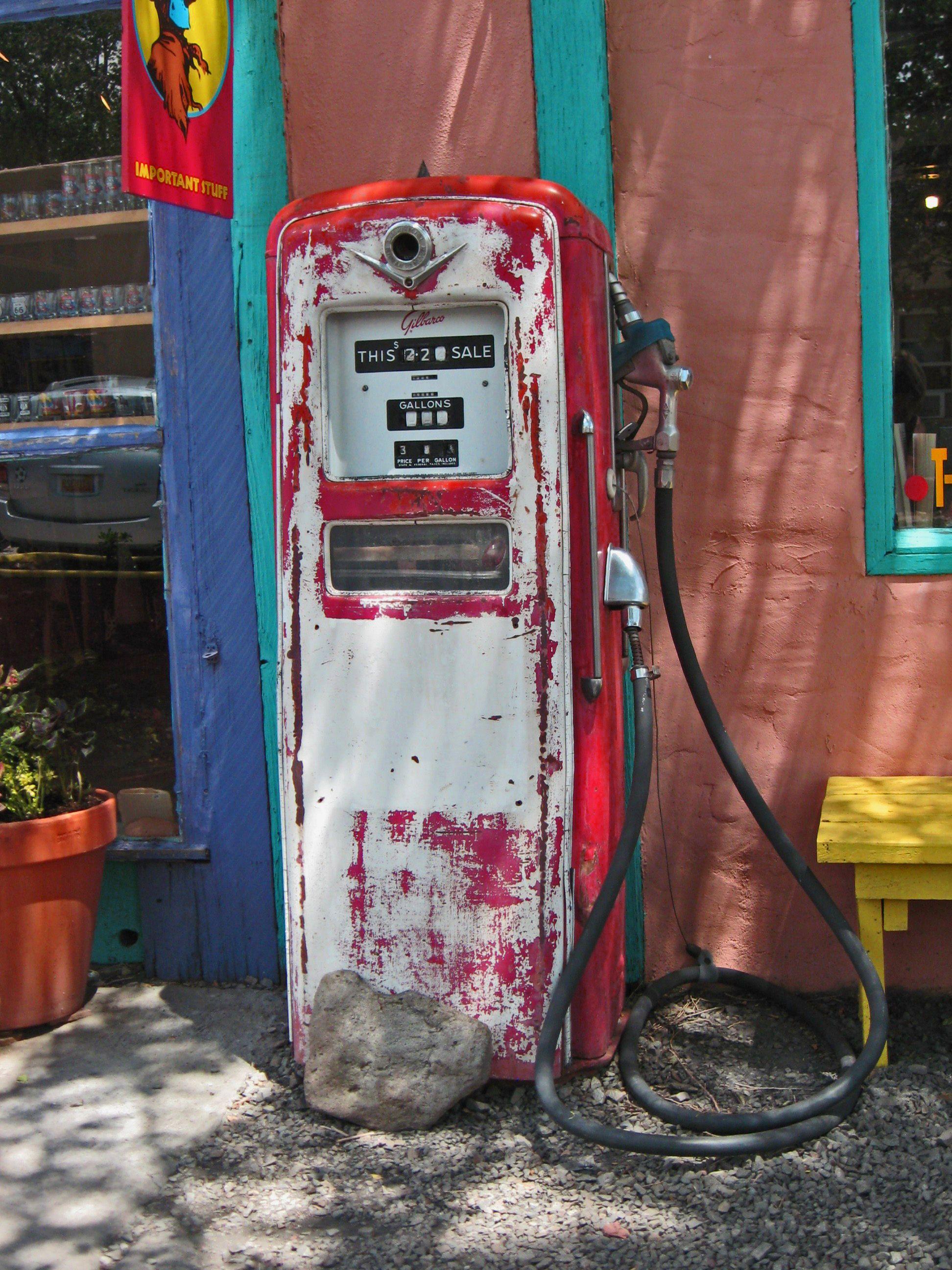 Vintage gas pump in Madrid, NM.