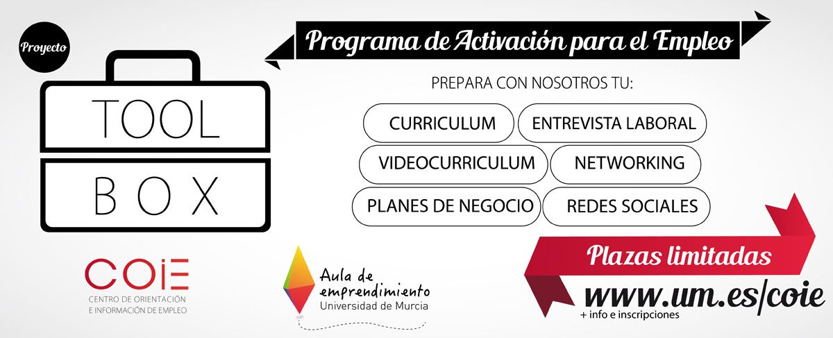 Jornadas formativas para ayudar a encontrar trabajo.  http://www.um.es/actualidad/gabinete-prensa.php?accion=vernota&idnota=51961