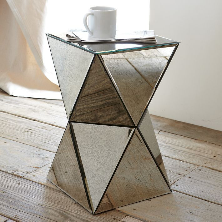 Faceted Mirror Side Table Geometric Table Night Stand Mirrored