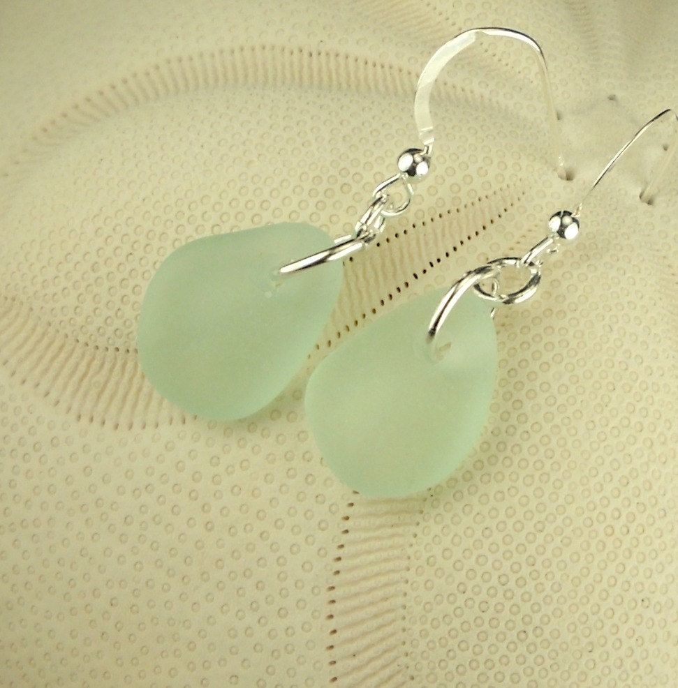 GENUINE Aqua Sea Glass Earrings Sterling by seaglassgems4you