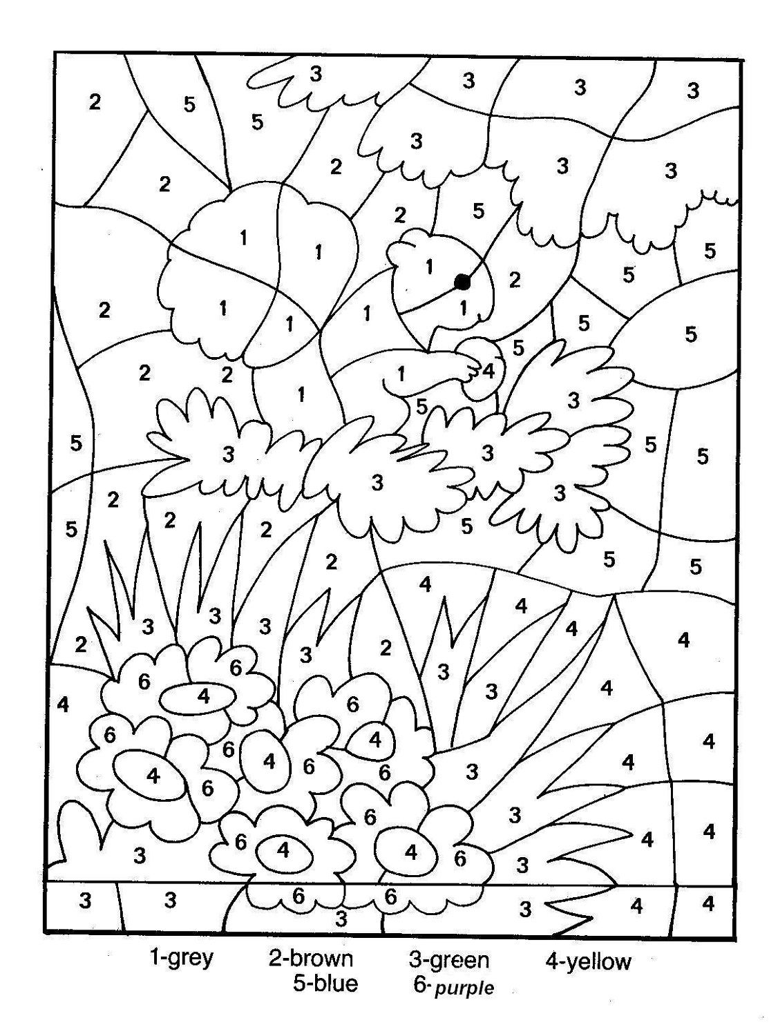 The number four colouring pages page 3 - Hidden Picture Color By Number Activity Shelter