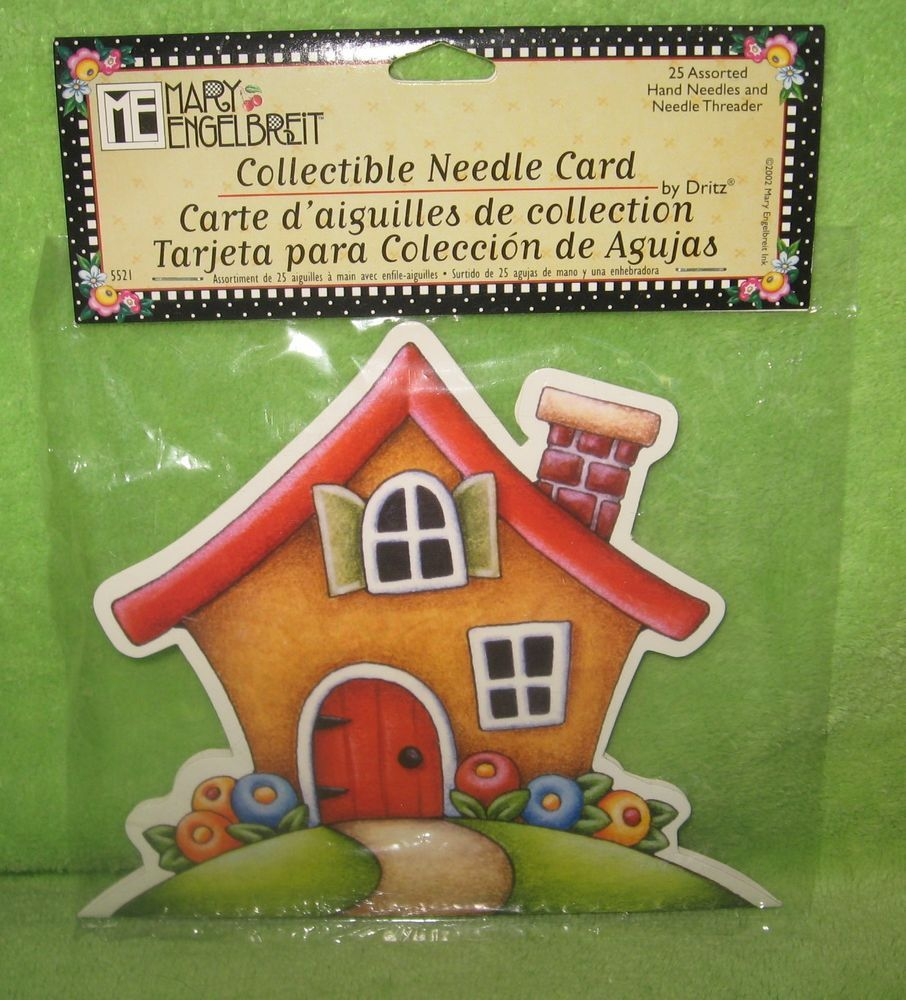 MARY ENGELBREIT COLLECTABLE NEEDLE CARD & ENVELOPE W/25 SEWING NEEDLES&THREADER #Dritz