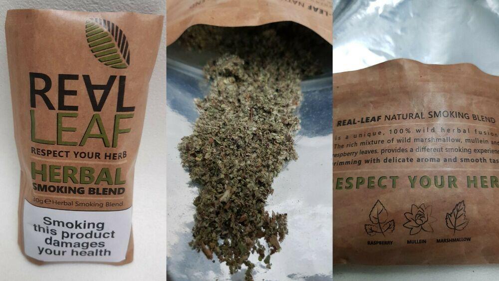 REAL LEAF SMOKING BLEND 30G 100% HERBAL Raspberry Mullien