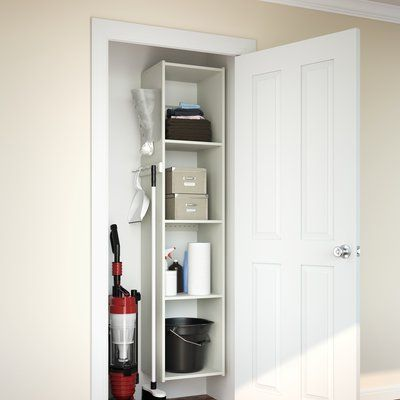 Easy Track 15 25 W Deluxe Utility Closet System Finish White Utility Closet Closet Organizing Systems Closet System