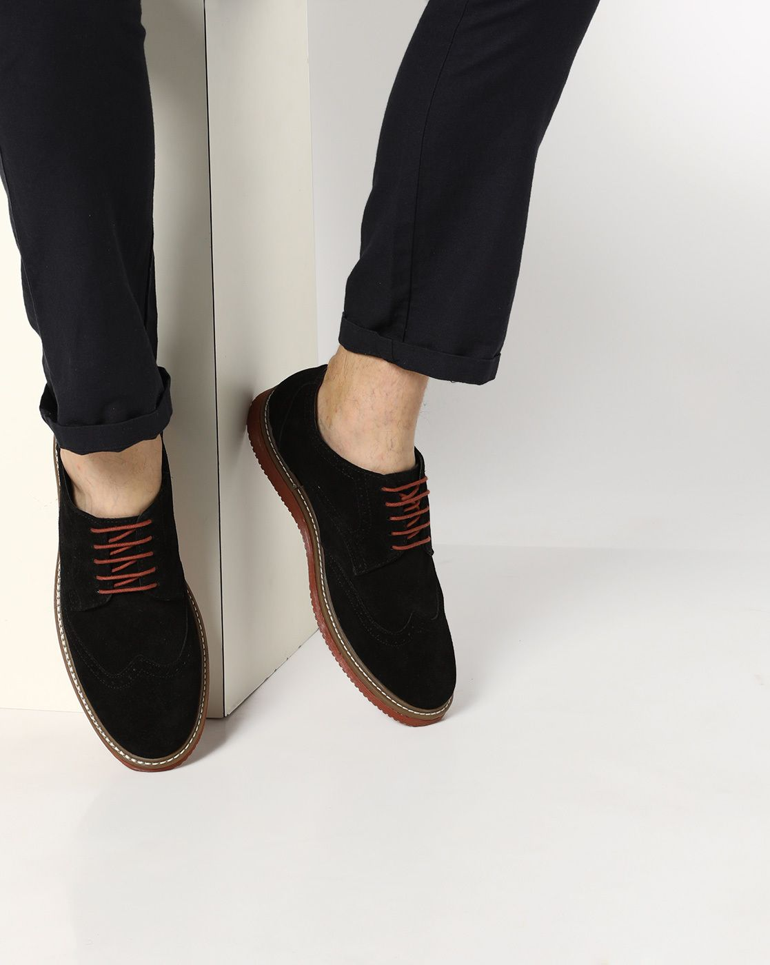 AJIO #Black Genuine Leather N9 Treated #Lace Up Shoes With