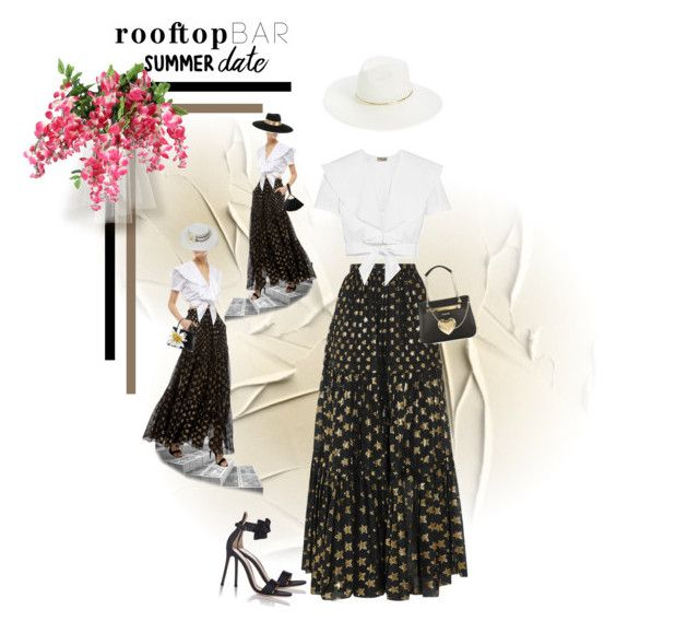 """""""Summer Date: Rooftop Bar"""" by dadanana ❤ liked on Polyvore featuring Temperley London, Gianvito Rossi, Chanel, Nancy Gonzalez, Maison Michel, Karl Lagerfeld, Love Moschino and Janessa Leone"""