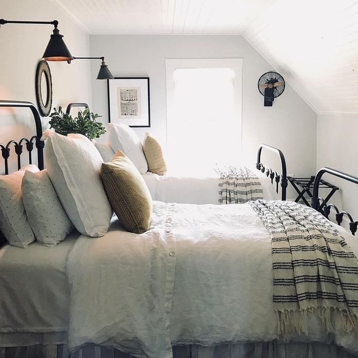 Farmhouse bedroom two twin size beds reading lights wal