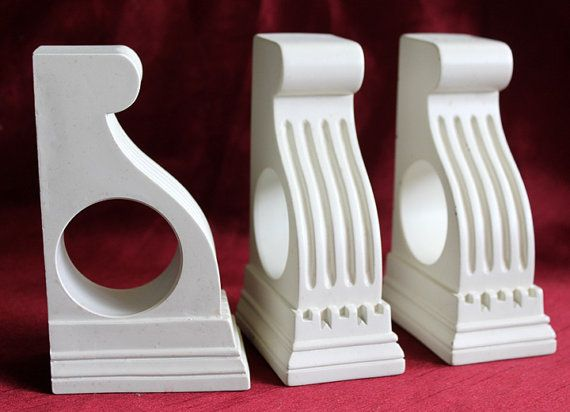 Vintage Curtain Rod Holders Set Of 3 Wooden By AnythingDiscovered 2400