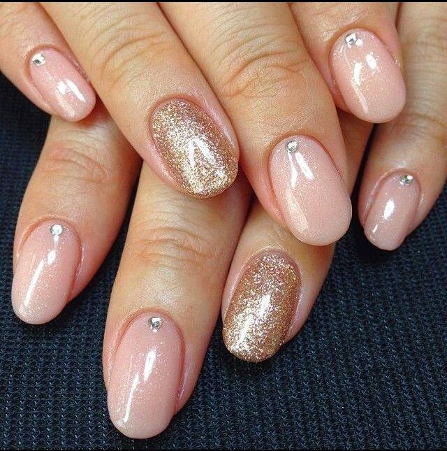 Natural Looking Nail Color With Glitter And Stones All About Nails