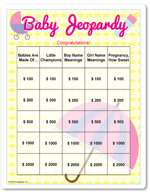 Baby Shower Gifts Yahoo Answers ~ Printable baby jeopardy pink stroller umbrella