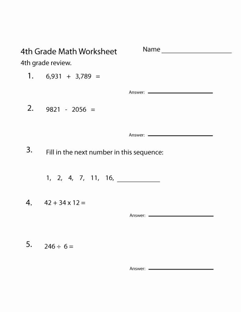 Worksheet Math Grade 4