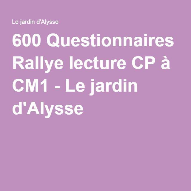 600 questionnaires rallye lecture cp cm1 rallye - Effroyables jardins questionnaire de lecture ...