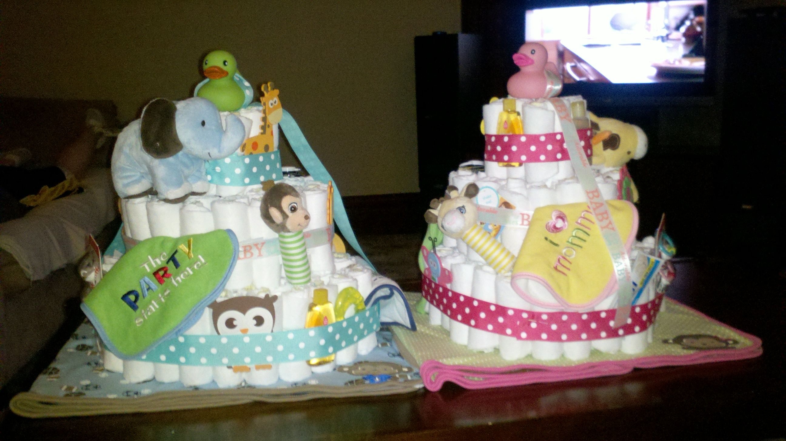 Diaper Cakes For Twins Boy And Girl