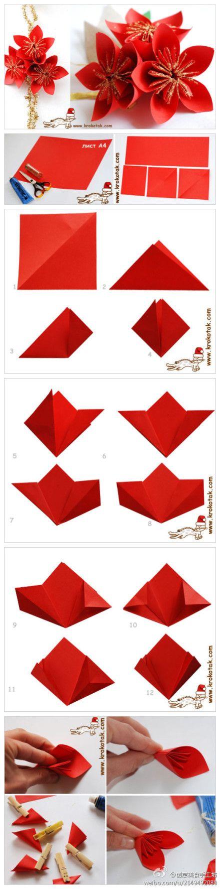 Diy Christmas Poinsettia Paper Flower Bouquet Tutorial Origami