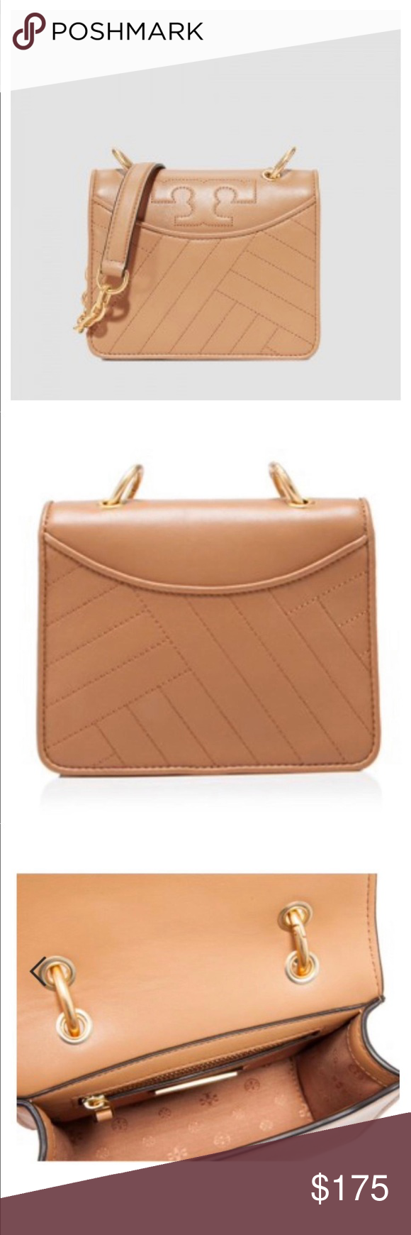 2def2e9f2a5b Tory Burch Aged Vachetta Alexa Mini Shoulder Bag PRODUCT DESCRIPTION  Arm  yourself to take on