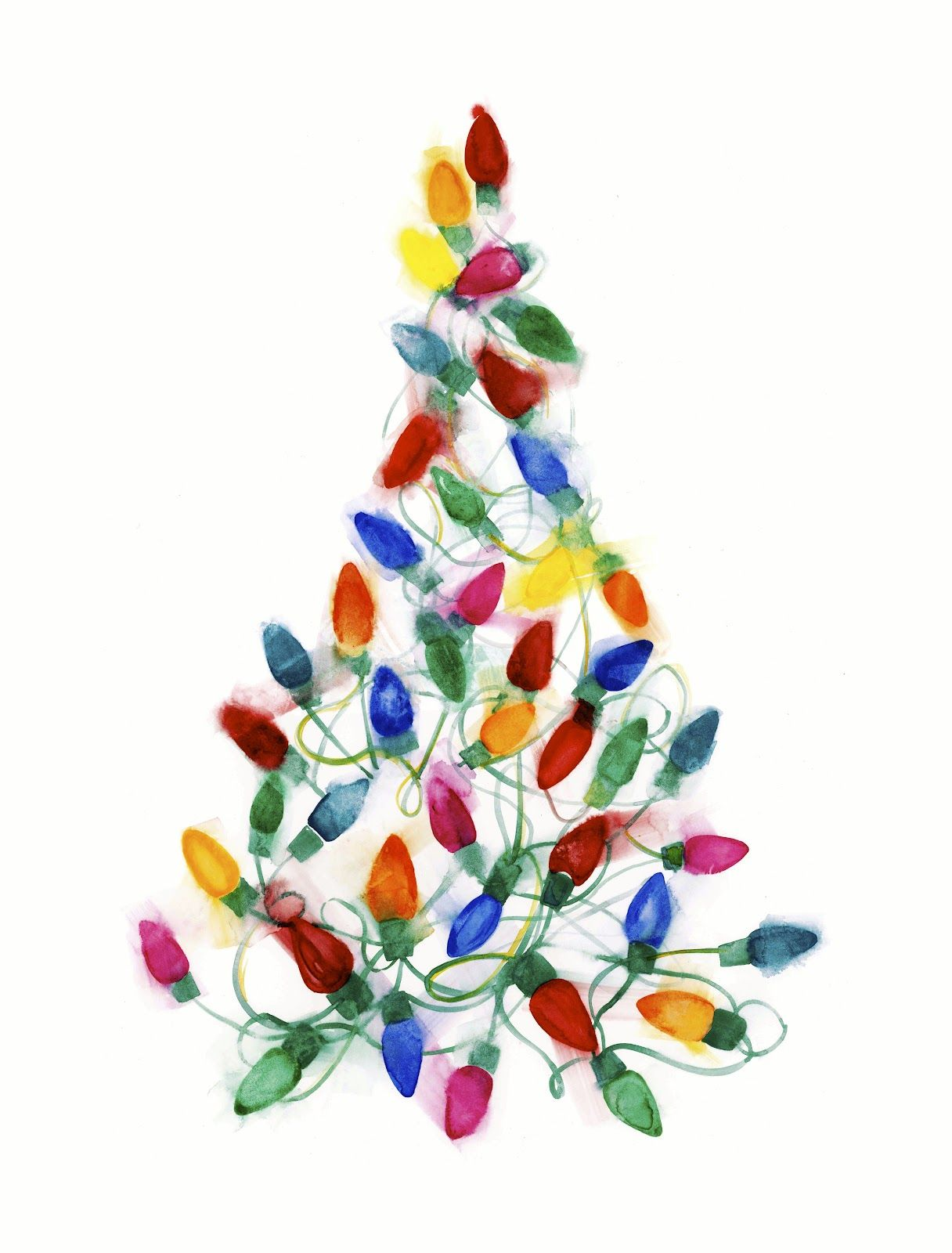 Christmas Light Tree Watercolor On Paper By Shana Frase Watercolor Christmas Cards Christmas Watercolor Christmas Art