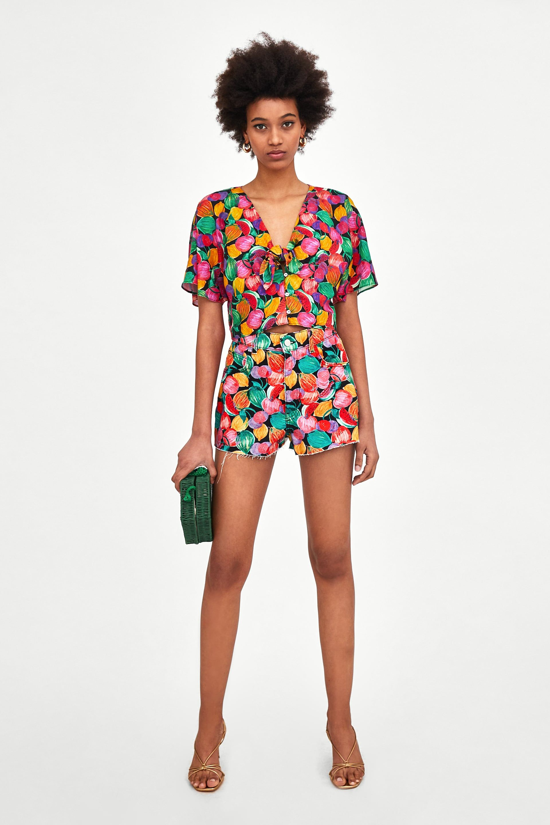 e05687f21e45b ZARA - WOMAN - HI-RISE PRINTED DENIM SHORTS