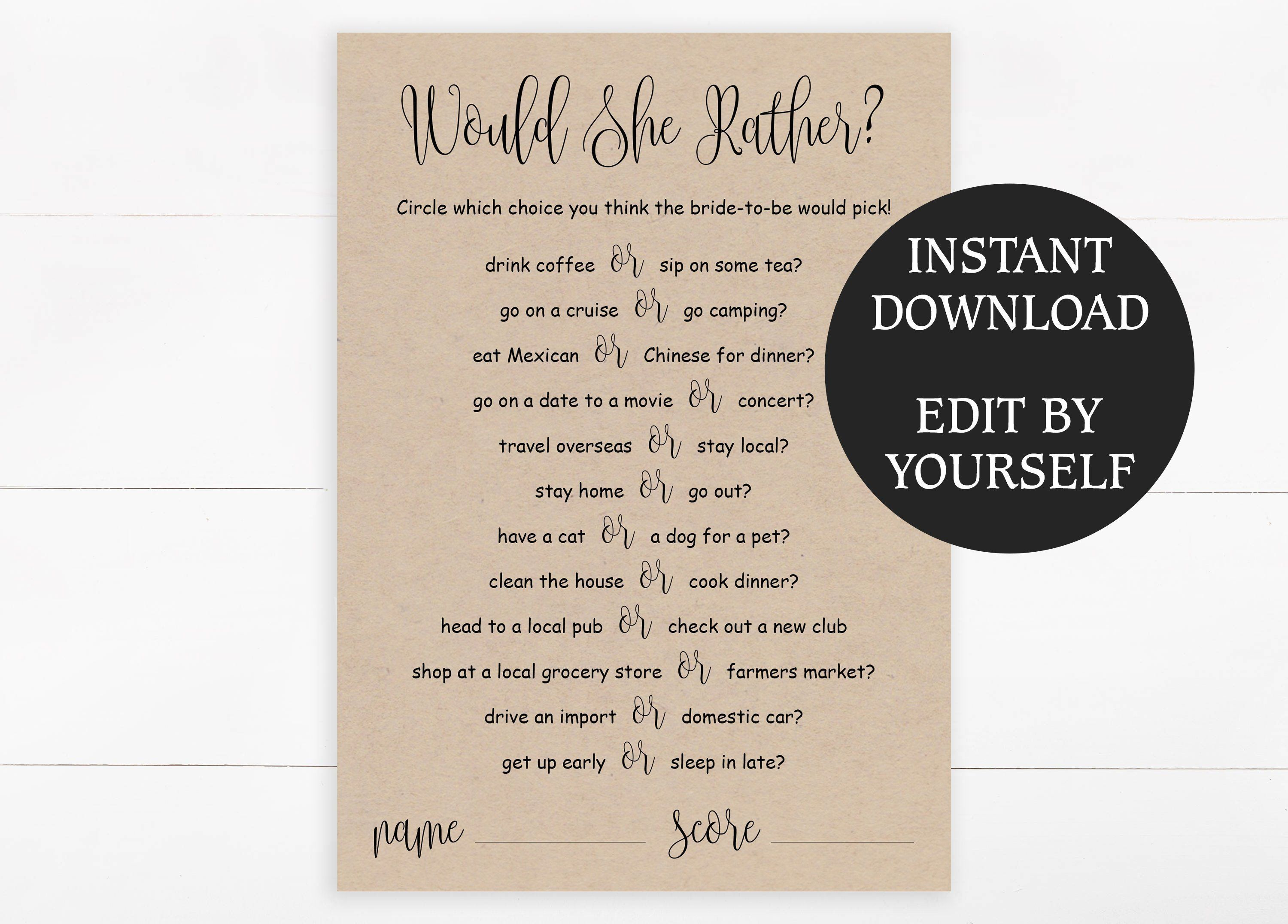 EDITABLE Would She Rather game template for Bridal Shower