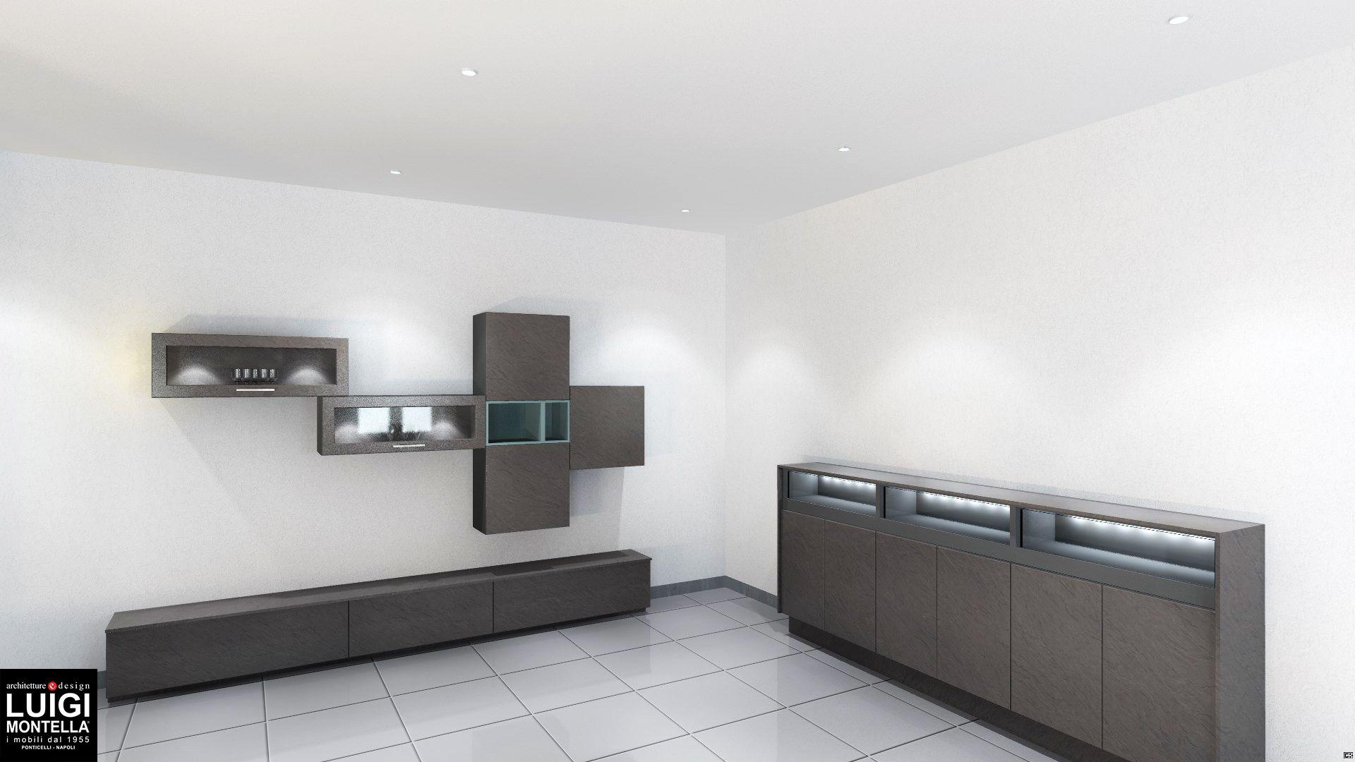 Credenza Moderna Grigia : Madia moderna con parete attrezzata effetto cemento grigio ardesia