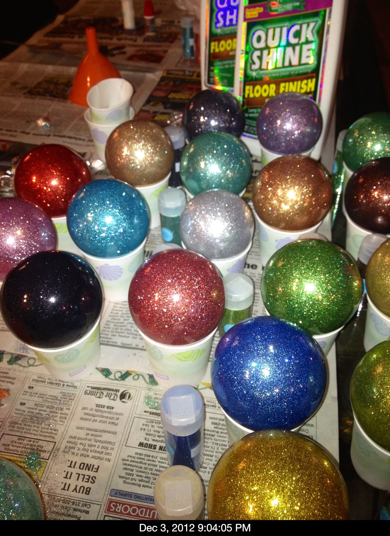 We Made The Home Made Christmas Balls Using Martha Stuart Glitter Quick Shine Floor Finish A Homemade Decor Safe Cleaning Products Quick Shine Floor Finish