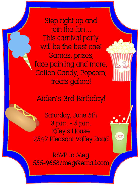 Carnival Wording For Invite Birthday Invitations Themed Party Parties