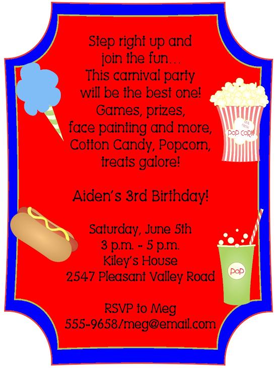 Carnival Wording For Invite Birthday Parties Pinterest