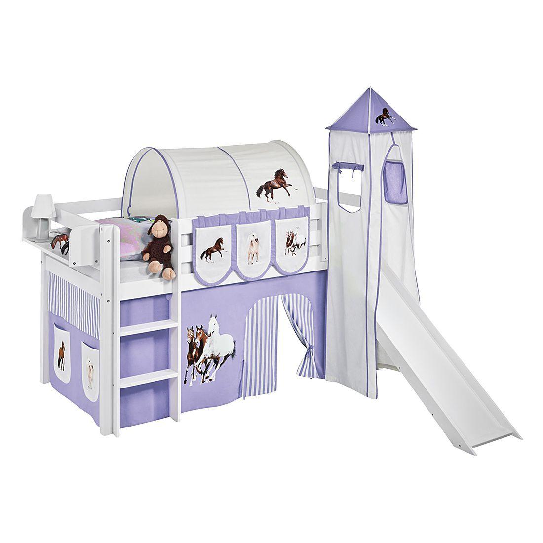 spielbett jelle pferde lila - hochbett lilokids - mit turm und ... - Kinderzimmer Lila Beige