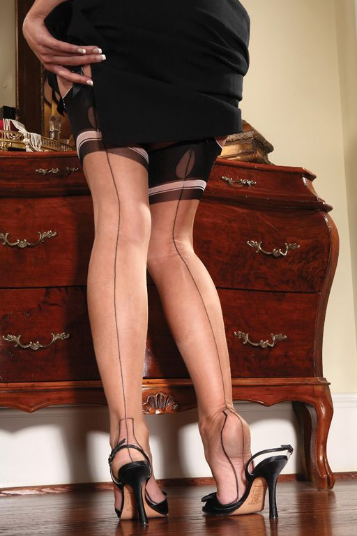 dc1ae4a25 ... Year in Business as the leading designer of newly manufactured vintage nylon  stockings we bring you the Eva Sheer Outline Heel Fully Fashioned Stocking.