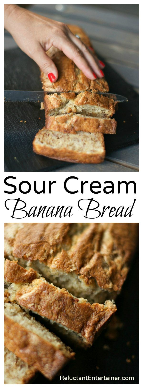 Sour Cream Banana Bread I Just Made This And Added Peanut Butter Chips And It Is So Amazing K Sour Cream Banana Bread Best Banana Bread Banana Nut Bread