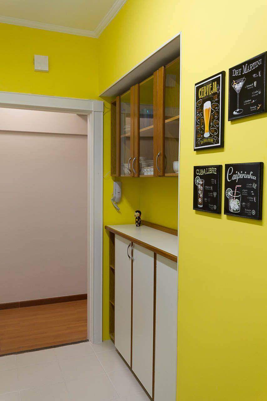 Parede De Azulejo Pintada No Tom Amarelo Spot Arquitetura Nosso  -> Spot De Parede Para Sala