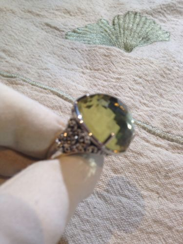Vintage Lemon Quartz 92.5% Sterling Silver Vine Ring