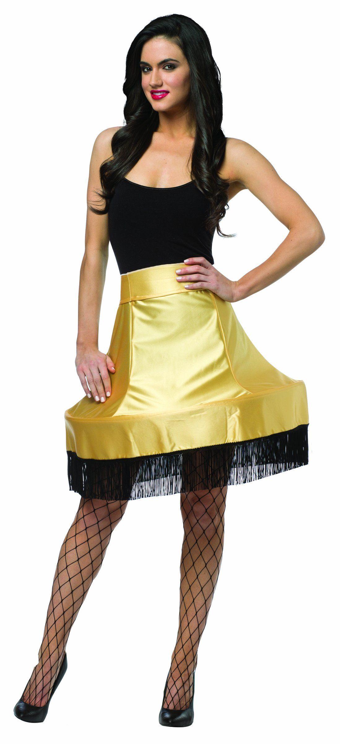 Rasta Imposta Women's Christmas Story Leg Lamp Skirt, Black/Gold, One Size