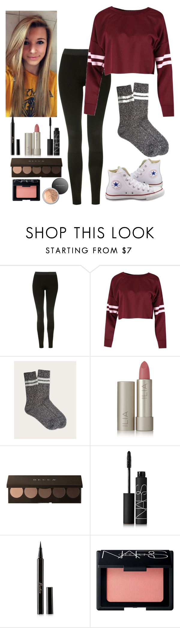 """""""New York outfit #1"""" by shoppingismycardio99 on Polyvore featuring Topshop, Converse, Frye, Ilia, NARS Cosmetics, Guerlain and Bare Escentuals"""