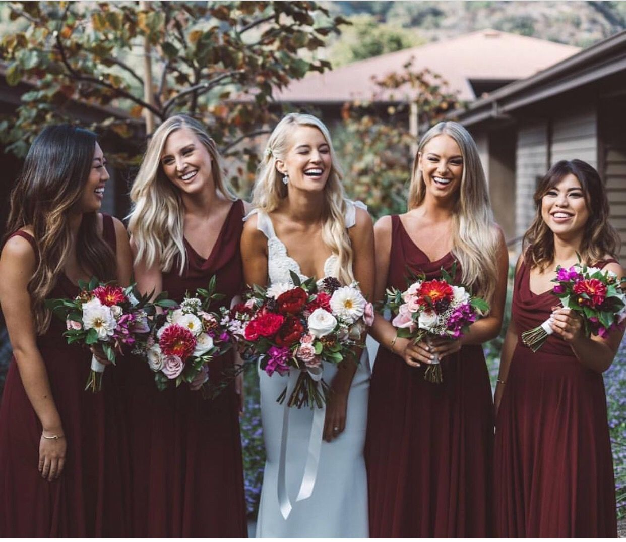 e92232cc4f5 Jenny Yoo Bridesmaids • our  Liana  Dress in Hibiscus • Long Fall Boho  Dresses in a shade of burgundy    photo by  studio7photo    florals by   ...