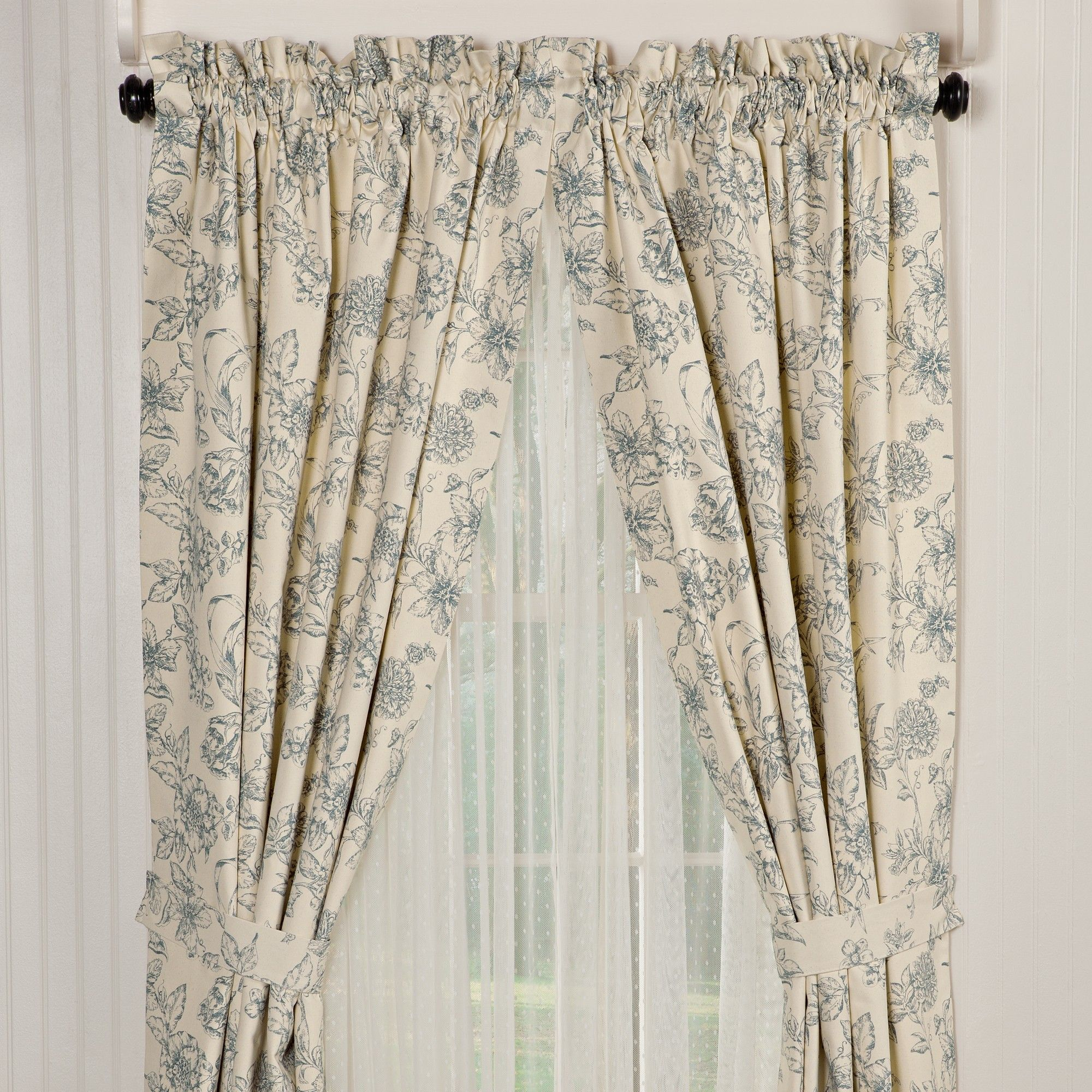 Chic Floral Pattern Drapes And Contemporary Iron Curtain Rod Also White  Wall Idea Excellent Door And