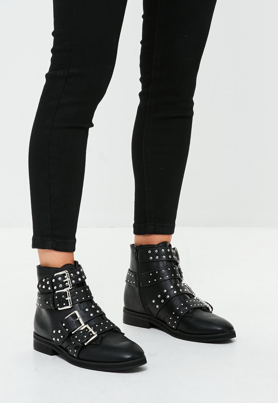 Black Ankle Boot Featuring Silver Stud Details Four Front Buckles
