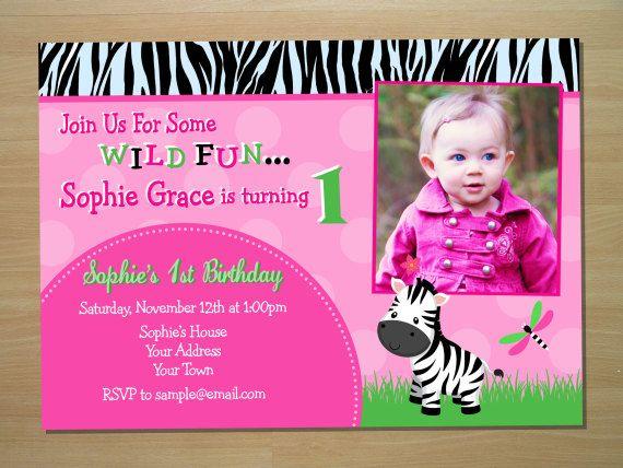 Zebra Girl 1st Birthday Invitation Digital by SquigglesDesigns - sample email invitation