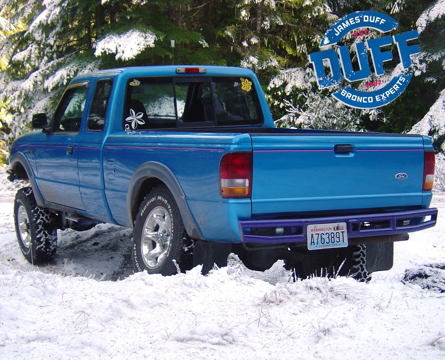 Suzy duff s 94 ford ranger with duff stage 3 suspension lift kodiak sidewinder steps and