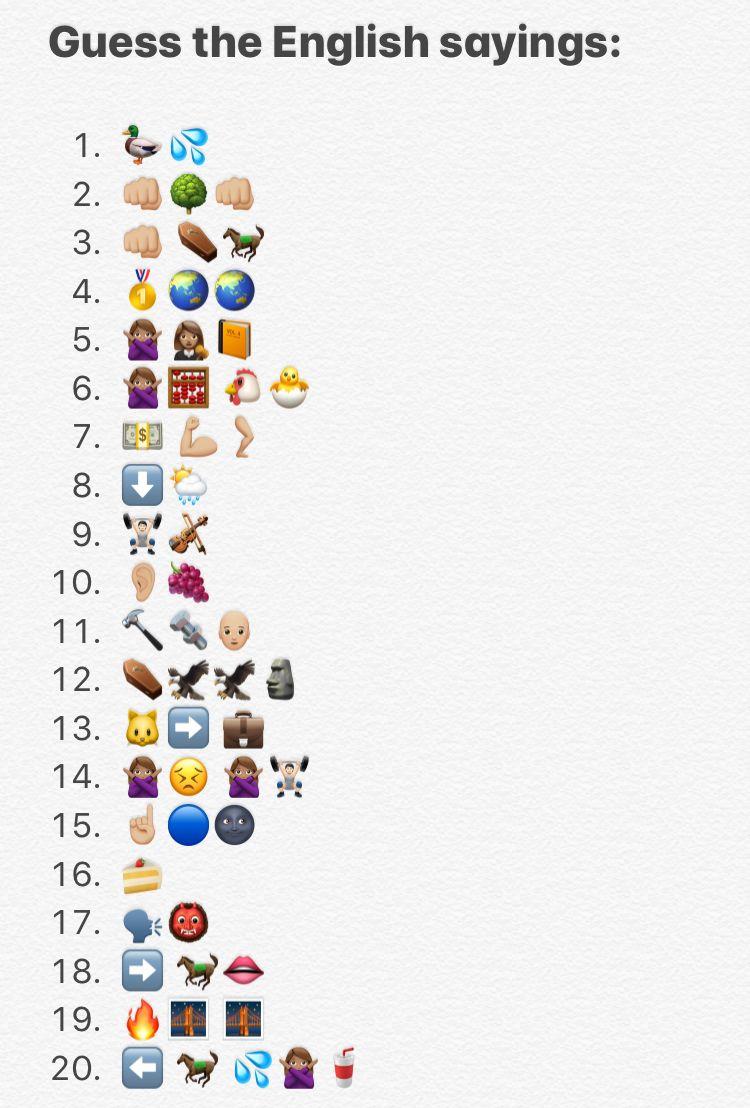 Guess the idiom emoji quiz in 2020 | Emoji quiz, Fun quiz ...