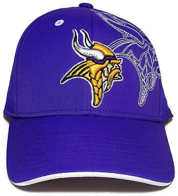 94813a15c64 Reebok Structured Flex Cap Hat NFL Football Minnesota Vikings BRAND ...