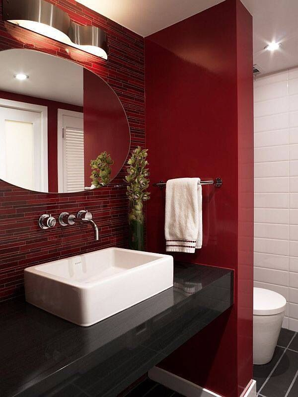 21 Red Bathroom Design Ideas To Try Red Bathroom Decor Bathroom Red Black Bathroom Decor
