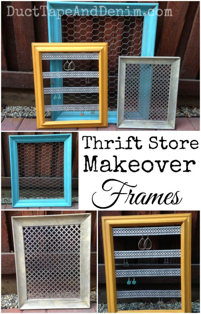 how to turn thrift store frames into diy jewelry display crafty pinterest auslagen. Black Bedroom Furniture Sets. Home Design Ideas